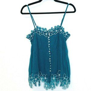 Peppe Peluso Teal Floral Trim Pleated Cami Tank